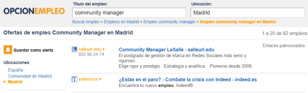 opcion empleo community manager