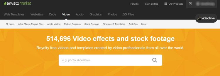 Videohive - pagina para descargar videos HD