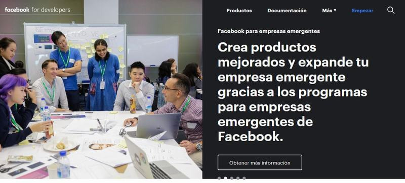 "Plataforma para desarrolladores ""Facebook Developers"""