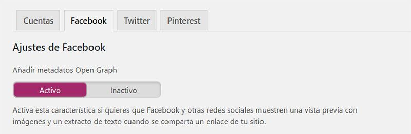 Activa los datos Open Graph para Facebook